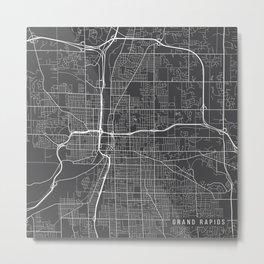 Grand Rapids Map, USA - Gray Metal Print
