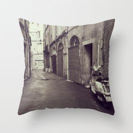 Old alley with a scooter in Montpellier, French city - Black and White Travel Photography Throw Pillow
