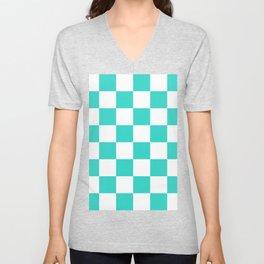 Large Checkered - White and Turquoise Unisex V-Neck