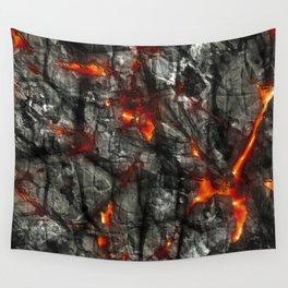 Fiery lava glowing through dark melting stone Wall Tapestry