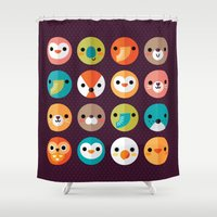 monika strigel Shower Curtains featuring SMILEY FACES 1 by Daisy Beatrice