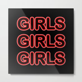 Girls Red Neon Sign Metal Print