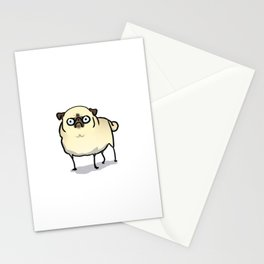 Angry pug - fawn Stationery Cards