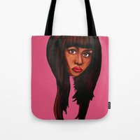 nicki Tote Bags featuring Watch the queen conquer by Papa-Paparazzi