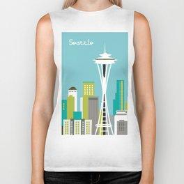Seattle, Washington - Skyline Illustration by Loose Petals Biker Tank
