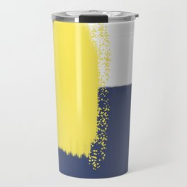 Calm & Happy Abstract Painting Yellow Blue Travel Mug