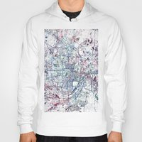 minneapolis Hoodies featuring Minneapolis map by MapMapMaps.Watercolors