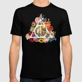Floral Deathly Hallows Owl and Stag - White T-shirt