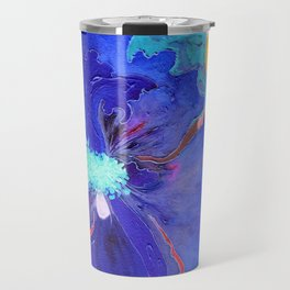 Birthday Acrylic Blue Orange Hibiscus Flower Painting with Red and Green Leaves Travel Mug