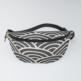 Japanese Seigaiha Wave – Black & White Palette Fanny Pack