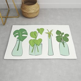 Plants in water bottles, colorful hand drawn illustration art Rug