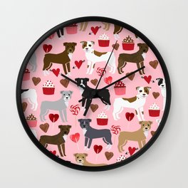 Pitbull valentine dog love rescue dogs valentines day hearts cupcakes dog gifts Wall Clock