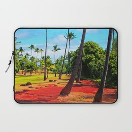 palm trees with green tree and blue cloudy sky in summer Laptop Sleeve