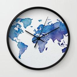 Blue World Map 02 Wall Clock