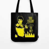 taxi driver Tote Bags featuring Taxi driver art by Buby87