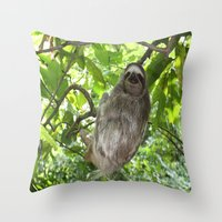 sloths Throw Pillows featuring Sloths in Nature by Amber Galore Design