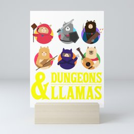 Dungeons And Llamas Geek D20 Tabletop Nerd Mini Art Print