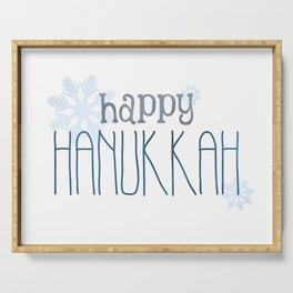Happy Hanukkah   Snowflakes Serving Tray