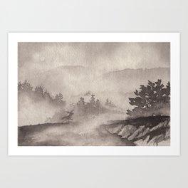 Adirondacks in the Mist in Borderless Art Print