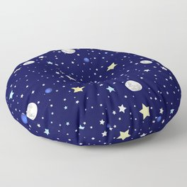 Universe pattern; Moon, Stars and Neptune Floor Pillow