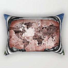 astronaut world map vintage Rectangular Pillow