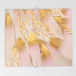 Gold Pink Arrow Feathers Throw Blanket