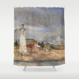 Menagerie Island Lighthouse Shower Curtain