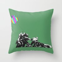 banksy Throw Pillows featuring Banksy style by veronica ∨∧