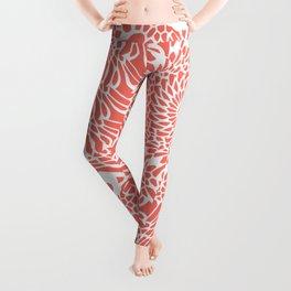 Coral and White Mandala Leggings