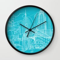 blueprint Wall Clocks featuring New York! Blueprint by David Bushell