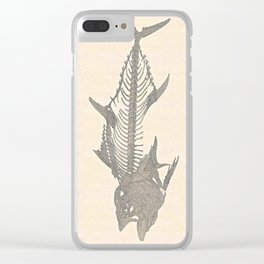 Tunafish Skeleton Drawing Clear iPhone Case