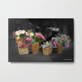 Bicycle and Flowers Metal Print