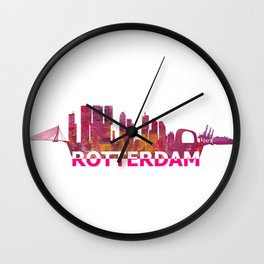Rotterdam Holland Skyline Scissor Cut Giant Text Wall Clock
