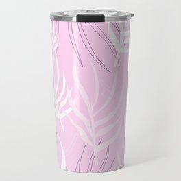 Pink palm leaves Travel Mug