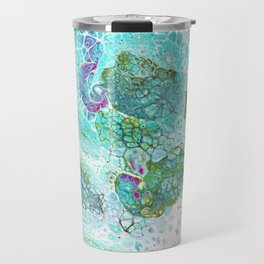 Abstract contemporary painting, aerial view of the ocean and its coral reef Travel Mug