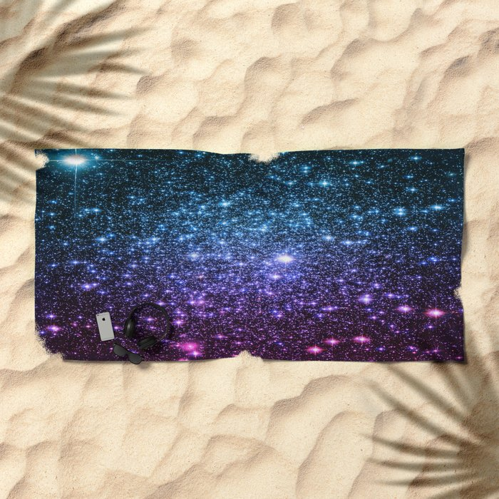 Galaxy Stars : Teal Violet Pink Ombre Beach Towel