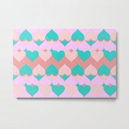 Multi Hearts Pink Teal Dogwood Metal Print