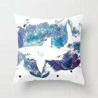shark Throw Pillows featuring Shark by Vanishing Fin