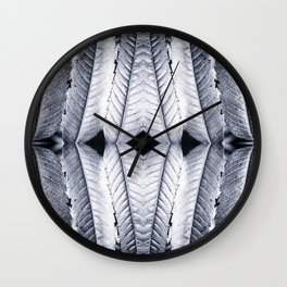 Fresh silver sumac leaves pattern surreal symmetrical kaleidoscope Wall Clock