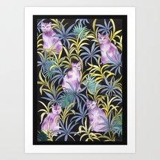 Cats in the garden Art Print