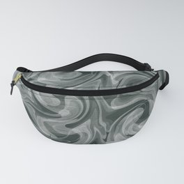 SMOKE swirling black and white abstract pattern Fanny Pack