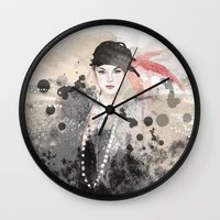 fashion illustration Wall Clocks featuring FASHION ILLUSTRATION 12 by Justyna Kucharska
