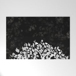 The Zen Tree - White on Black Welcome Mat
