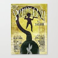 peter pan Canvas Prints featuring Peter Pan by Brian Coldrick