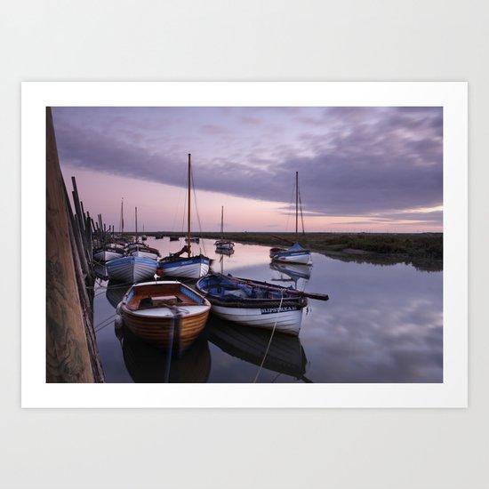 Moored boats under a pink dawn sky. Blakeney, North Norfolk Coast, UK Art Print