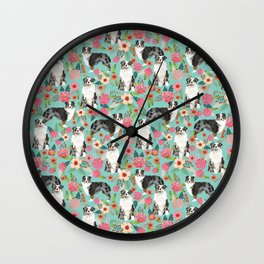 Australian Shepherd owners dog breed cute herding dogs aussie dogs animal pet portrait dog art Wall Clock