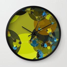 billie -vivid abstract design yellow blue brown chartreuse green Wall Clock