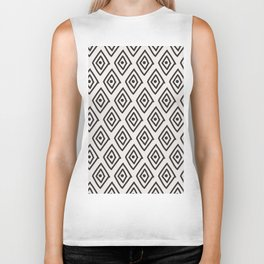 Hand painted black white geometrical diamond polka dots Biker Tank