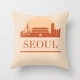 SEOUL SOUTH KOREA CITY SKYLINE EARTH TONES Throw Pillow