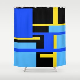 Rectangles - Blues, Yellow and Black Shower Curtain